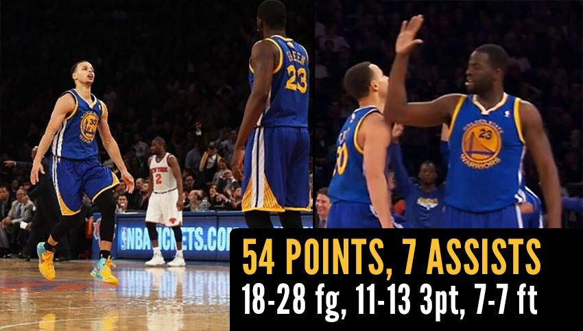 Steph Curry scores NBA season high 54 points (11 3-pointers) in loss vs Knicks
