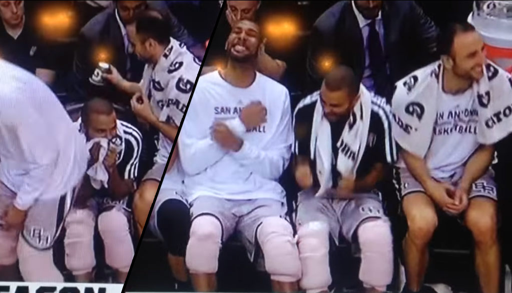 Tony Parker & Manu paper cup prank on Tim Duncan