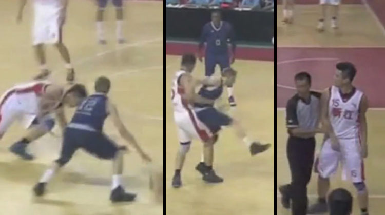 6'8 Chinese Pro Player tries to fight The Professor after being embarrassed | Professor Throws ball off Manny Pacquiao's face!