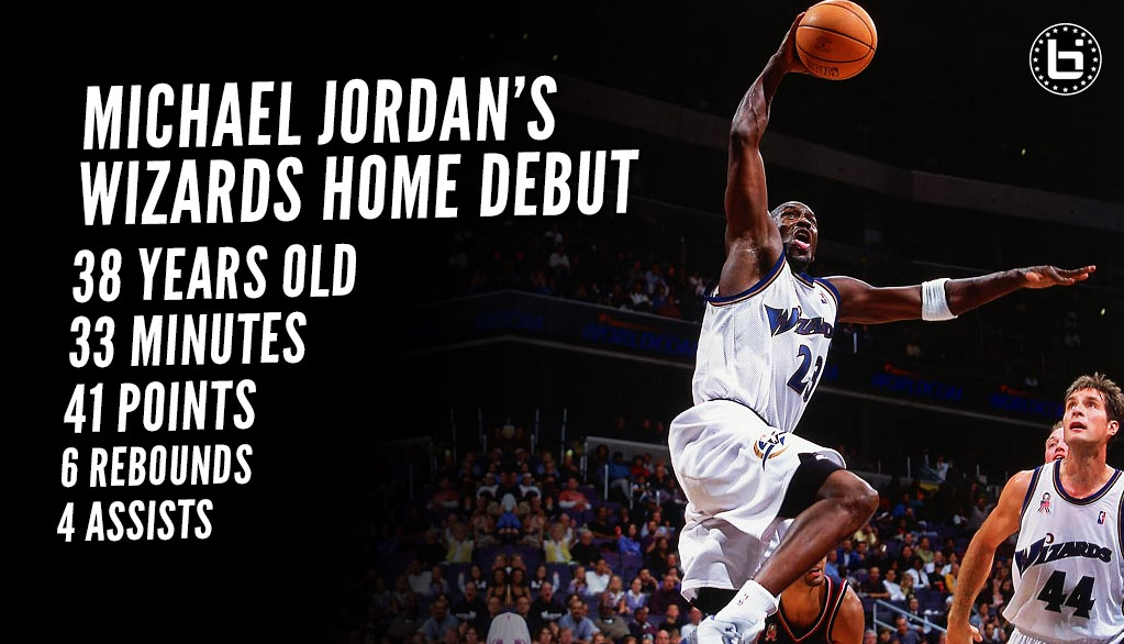 38 year old Michael Jordan scores 41 In Wizards home debut (15 pts in 5 mins)