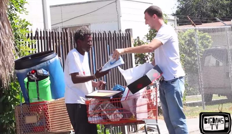 Prankster gives away Retro Jordans in Compton