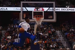 Iman Shumpert with the pregame between the legs dunk – Travis Outlaw likes it!