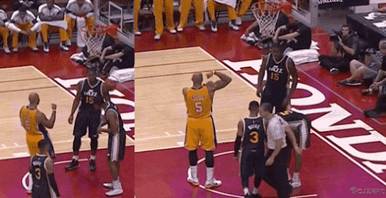 Carlos Boozer celebrates & flexes after making a shot when the Lakers were down by 21!