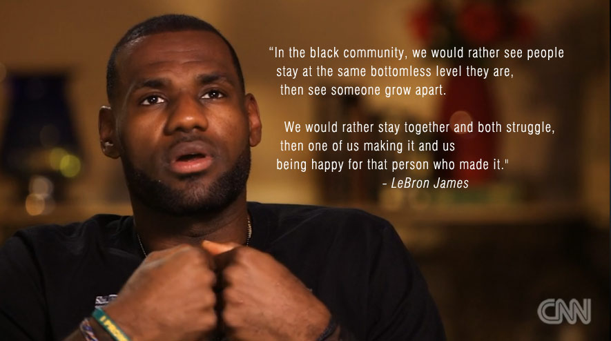 LeBron talks about change & the mentality of the black community when it comes to people achieving success