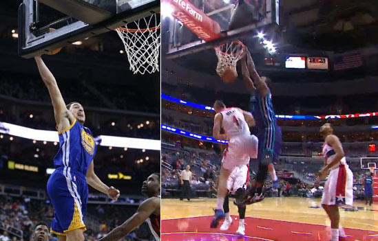Better behind the back pass & dunk play: Stephen Curry to Klay -or- Kemba Walker to MKG