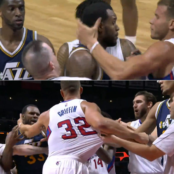 Blake Griffin dunks on Gobert, fights with Booker & mops the floor with Hawes