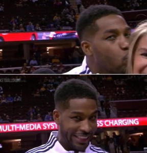 Tristan Thompson calls reporter a wrong name and then gives her an awkward kiss