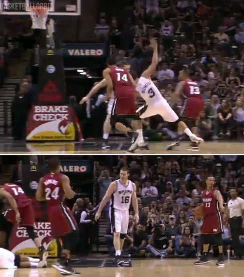 Man Down! Marco Belinelli with the huge flop guarding Shabazz Napier