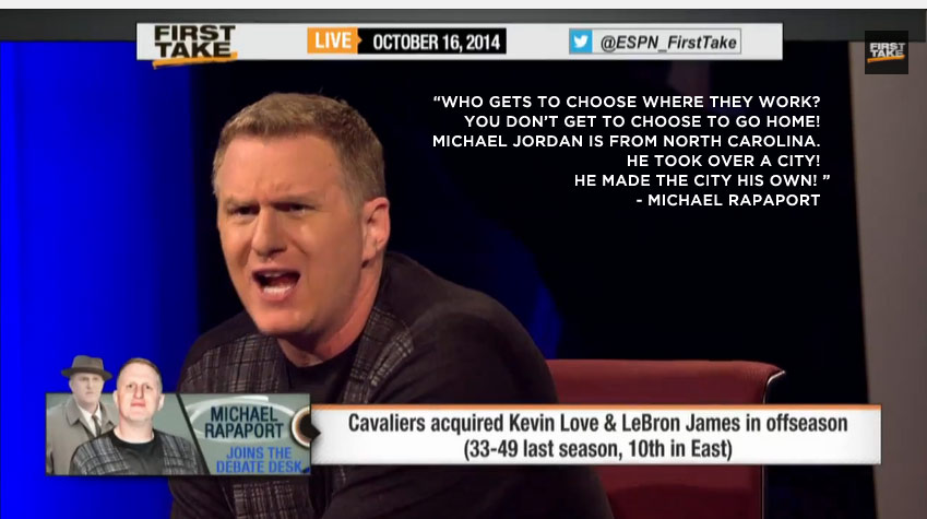 "Michael Rapaport goes off on LeBron's decision to ""go home"" on ESPN 1st Take"