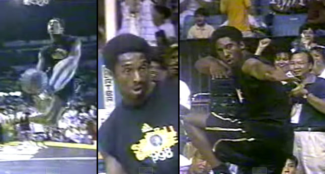 Watch a cocky 20 year old Kobe Bryant put on a dunk exhibition in the Philippines