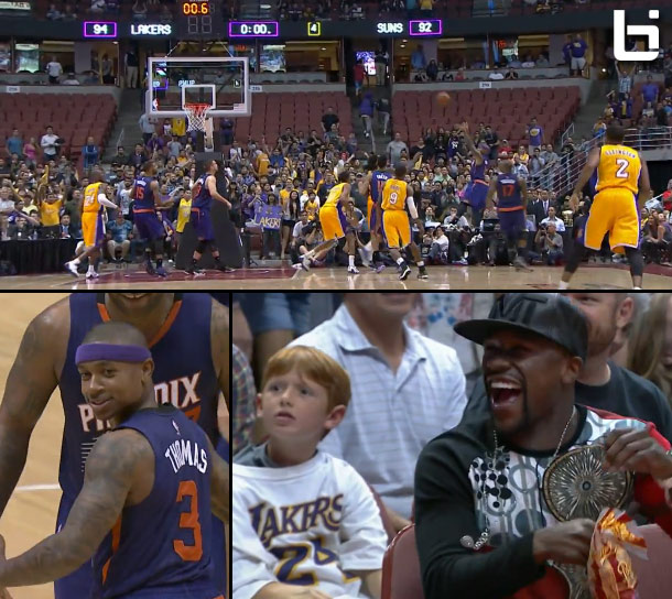 Isaiah Thomas hits a buzzer beating shot to force OT & then stares down Floyd Mayweather