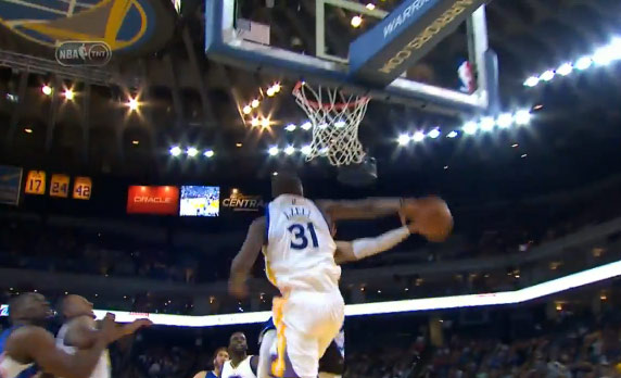 Festus Ezeli celebrates his birthday with a monster block on Cunningham
