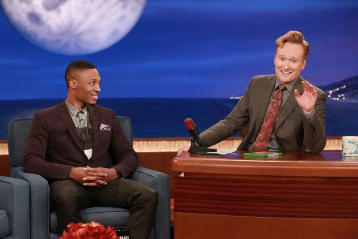 Damian Lillard raps and does the shmoney dance on the Conan O'Brien Show