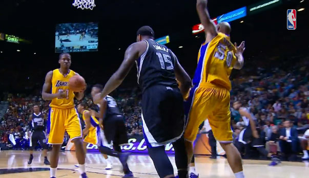 DeMarcus Cousins 21pts, 10rebs & 1 dunk over Robert Sacre