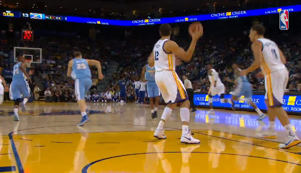 Assist of the night: Andrew Bogut's football pass to Iggy for the dunk
