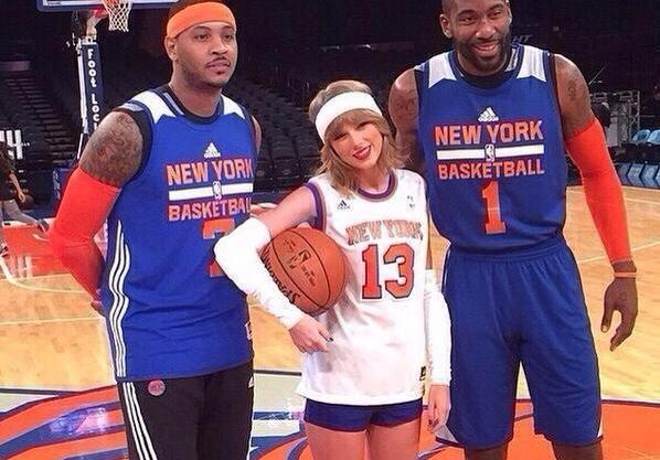 Taylor Swift at Knicks' practice with Carmelo Anthony and Amar'e