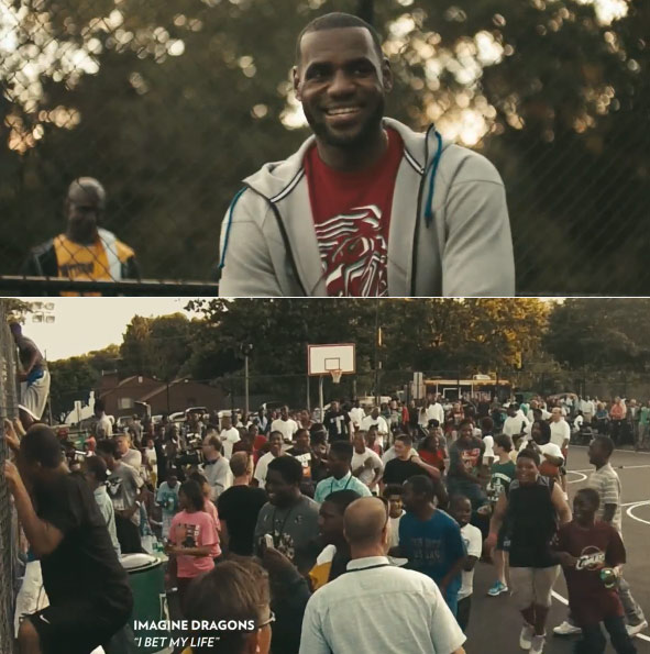 "LeBron shows up to his ""first home game"" in Akron 