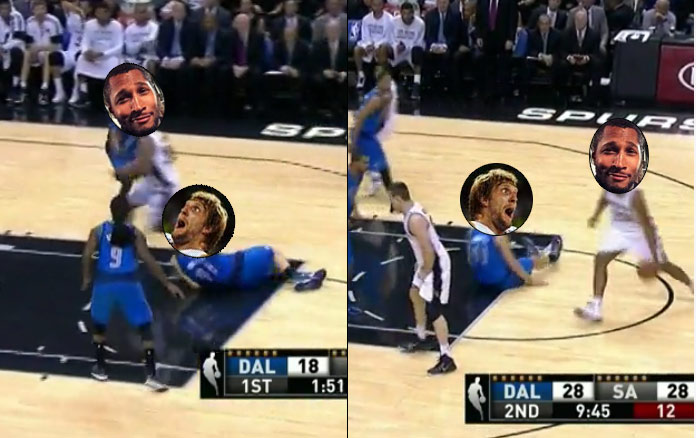 Boris Diaw Drops Dirk Twice in the same game!
