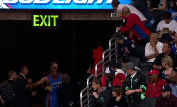 Westbrook breaks hand & has verbal altercation with fan