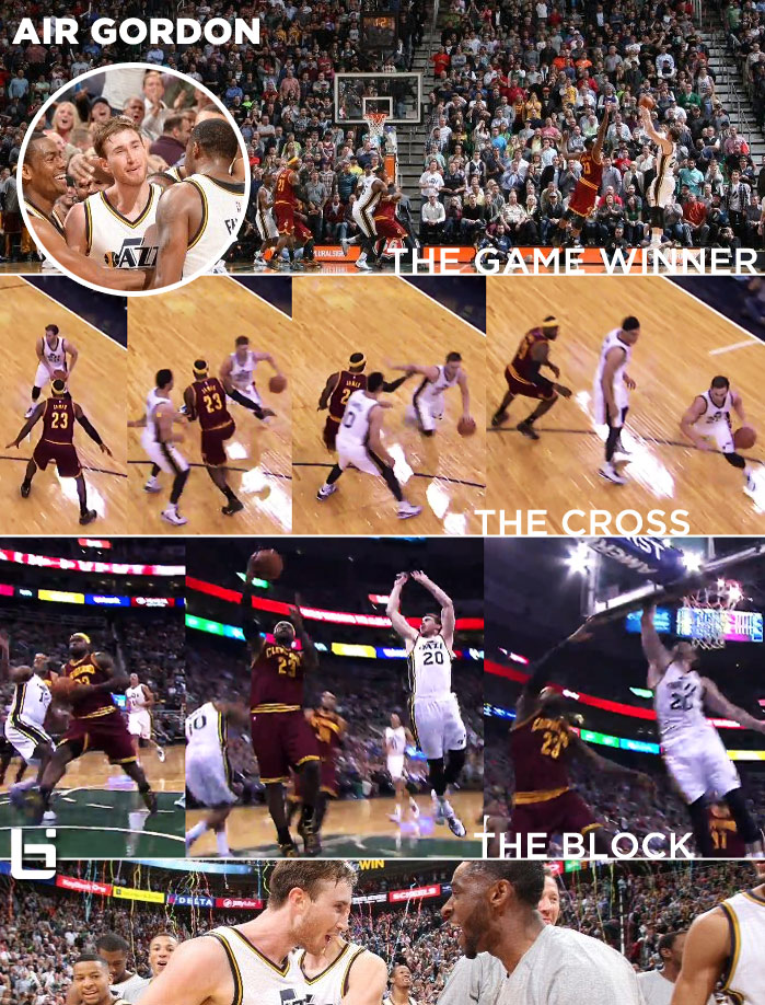 Gordon Hayward crosses LeBron, chase-down blocks LeBron then beats LeBron/Cavs w/ a game-winner!