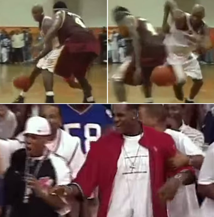 2003: Lamar Odom impresses LeBron & Jay-Z with a Shammgod crossover at Rucker