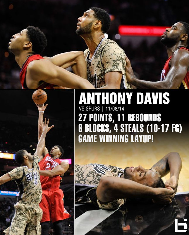 Anthony Davis dominates Tim Duncan/Spurs & makes game winner / 27pts 11rebs 6blks 4stls