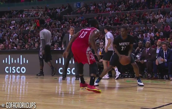 Andrew Wiggins blocks Harden, dunks off a spin move on Harden & hits a 3 in Harden's face