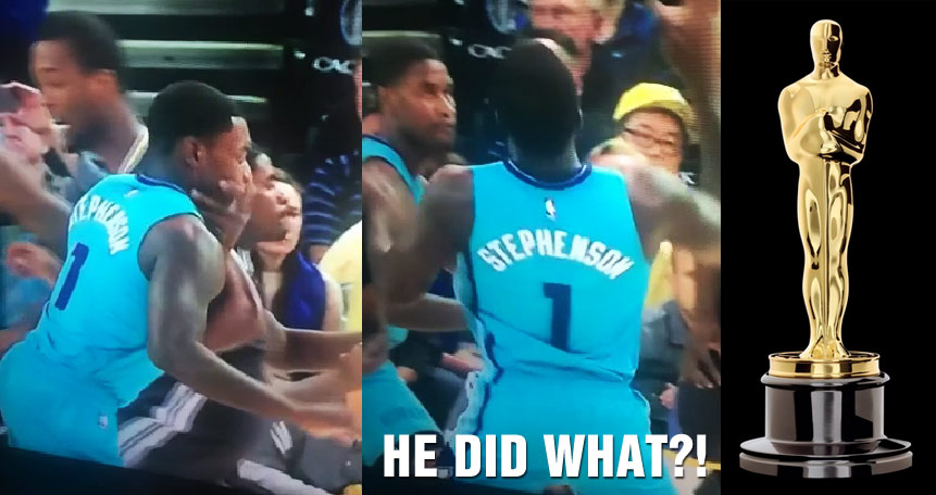 Lance Stephenson takes flopping to a new level by slapping himself in the face