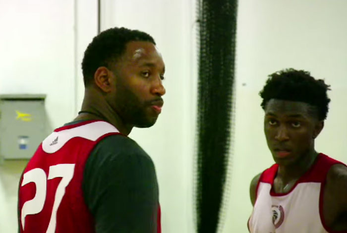 Stanley Johnson matches up with Tracy McGrady at Adidas Nations event