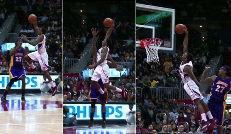 Jeff Teague Blows Past Jeremy Lin Takes Flight Above Jordan Hill