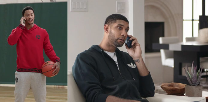 Tim Duncan can't contain himself when Derrick Rose calls & delivers good news