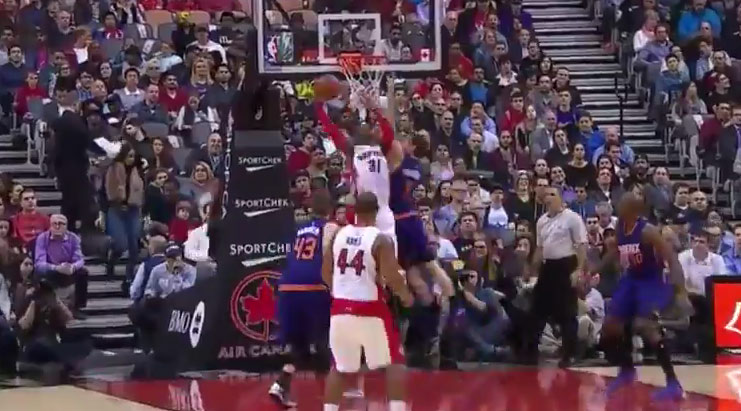 Terrence Ross with the baseline reverse dunk on Goran Dragic