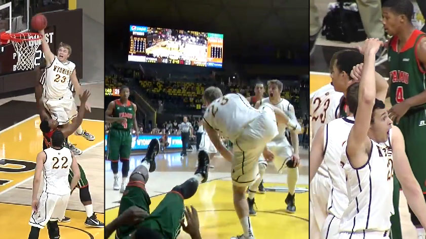 Wyoming's Jason McManamen destroys a FAMU defender trying to take a charge, Larry Nance Jr can't believe it!