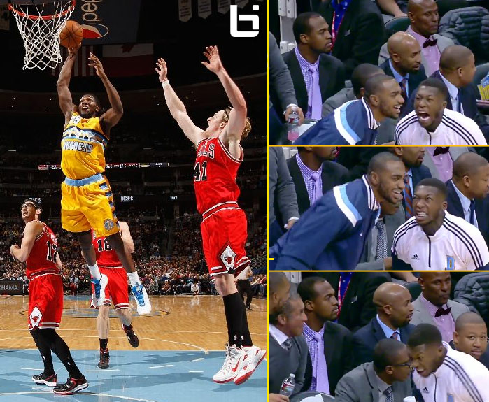 Nate Robinson spazzes out after Kenneth Faried's big dunk vs the Bulls