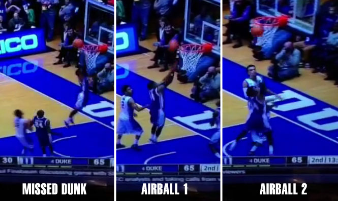Stephen Croone misses a wide-open dunk then shoots back-to-back airballs vs Duke