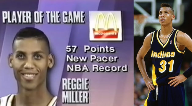 (1992) Reggie Miller career-high 57 PTS & 8 ASTS vs the Hornets