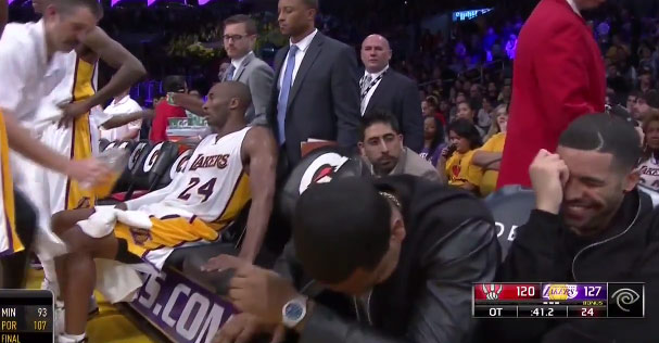 """4 LOL moments from Kobe's milestone game vs the Raptors feat Drake & Kyle Lowry's """"nuts"""""""
