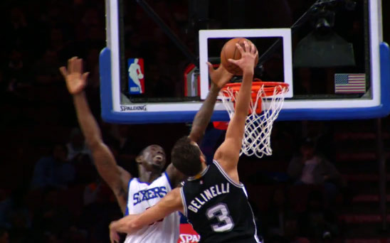 Sharpshooter Marco Belinelli drives & dunks on Henry Sims