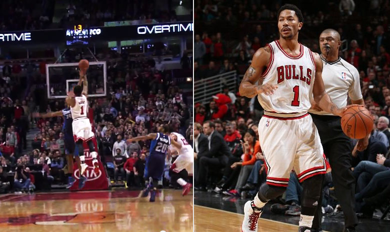 Derrick Rose 18pts, 10asts & a 3-pointer to force double OT vs the Mavs