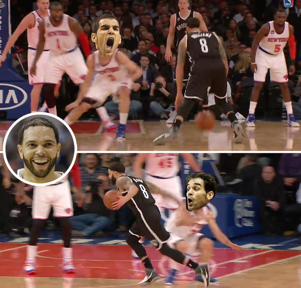 That's just mean. Deron Williams shows off his handles by playing around with Jose Calderon