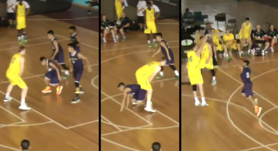 Guam player crawls under opponents legs to play defense. Dirk says it's JJ Barea!