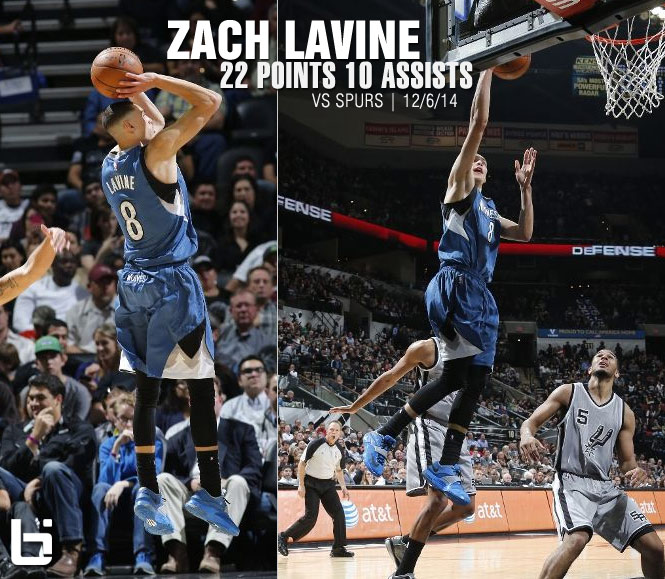 Zach LaVine gets first career double-double (22pts/10asts) vs the Spurs