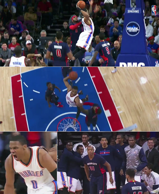 Russell Westbrook 22pts, 11rebs, 7asts & 1 nasty/sick/filthy dunk vs the Pistons