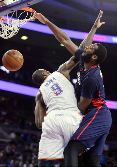 Andre Drummond poster dunk on Serge Ibaka