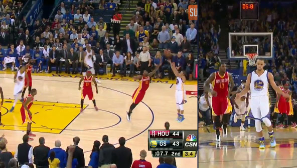 Steph Curry hits a deep 3 in Tarik Black's face & then does a shimmy dance
