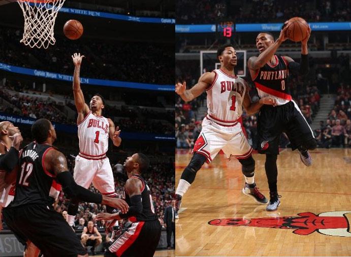 Derrick Rose season high 31 points vs Damian Lillard (35pts), Bulls win
