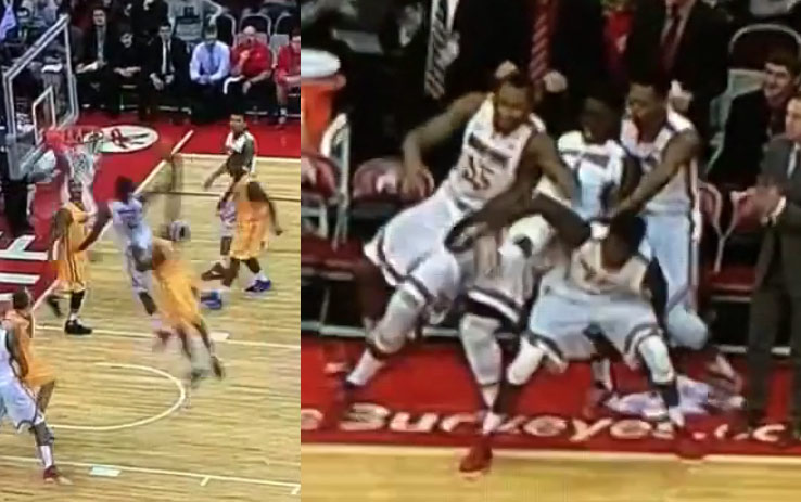 Ohio State crowd/bench goes crazy after Sam Thompson's crazy in-bound alley-oop dunk