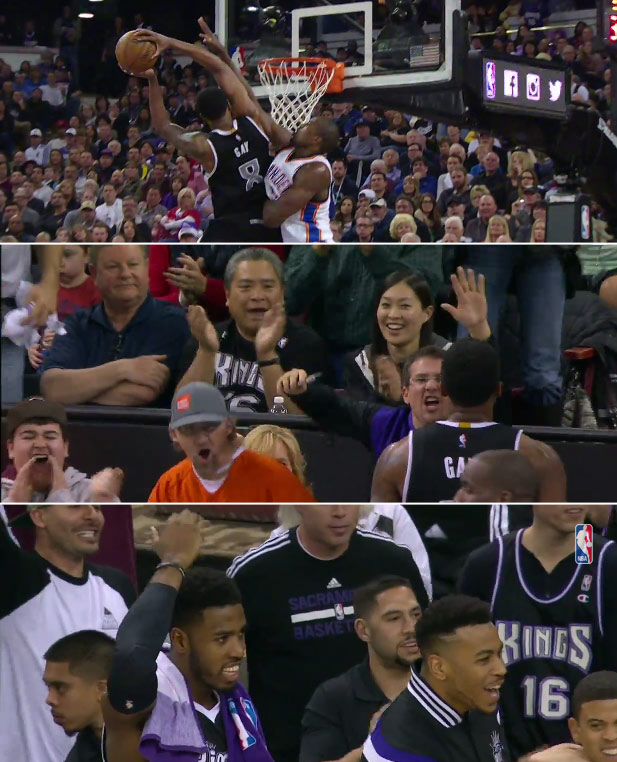 Rudy Gay dunks on Serge Ibaka and leaves a fan wanting a high-five hanging