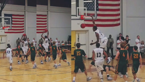Duke Commit Javin DeLaurier knees defender in the face before dunking and knocking him to the ground!