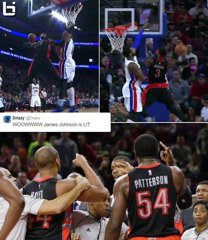 James Johnson's nasty dunk on Andre Drummond almost caused a fight | 4 techs + 1 ejected fan